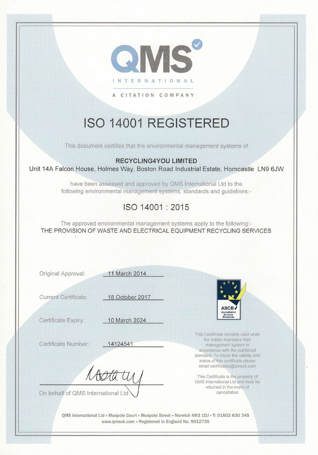 ISO 14001 Registered - Recycling4You